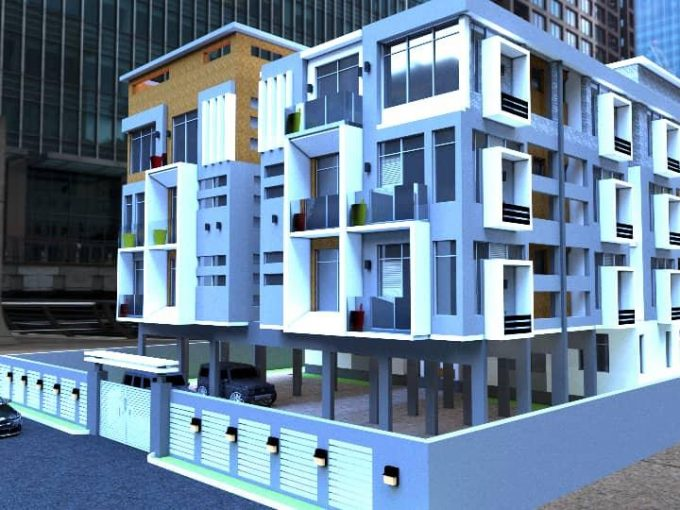 A block of sixteen flats comprising of one , two bedrooms and three bedrooms.